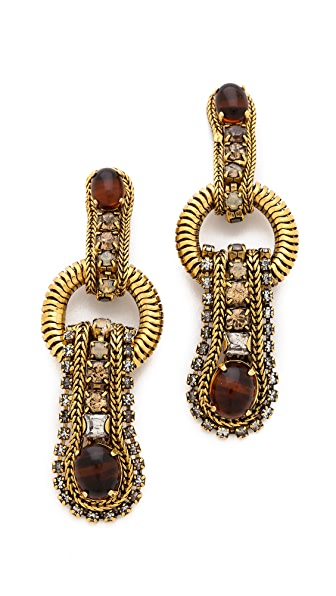 AERIN Erickson Beamon Gem Leaf Earrings