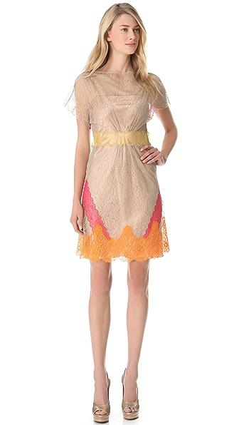 Alberta Ferretti Collection Lace Short Sleeve Dress