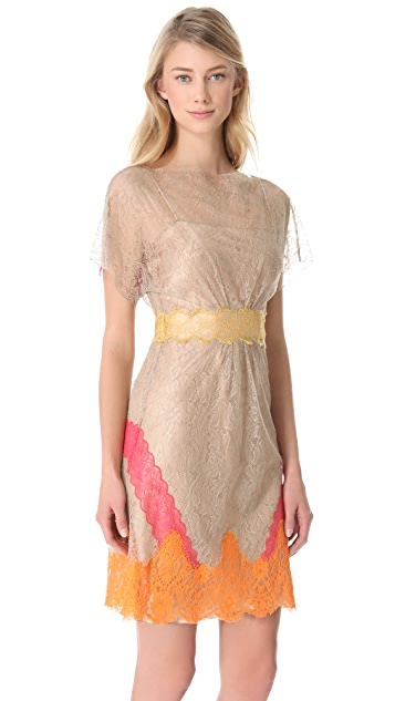 Alberta Ferretti Collection Lace Short Sleeve Dress