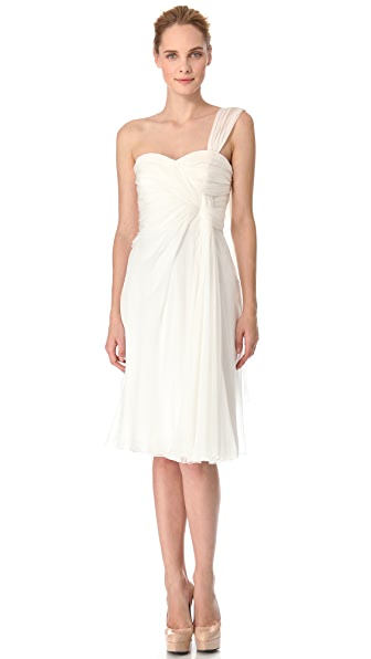 Alberta Ferretti Collection One Shoulder Cocktail Dress