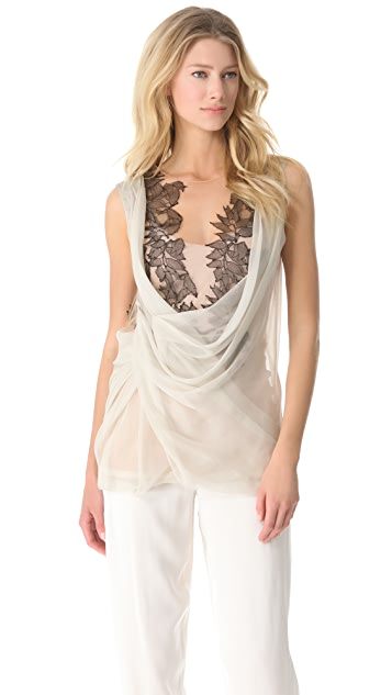 Alberta Ferretti Collection Chiffon Wrap Blouse with Leaf Lace