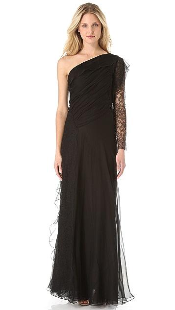 Alberta Ferretti Collection Chiffon Asymmetrical Gown