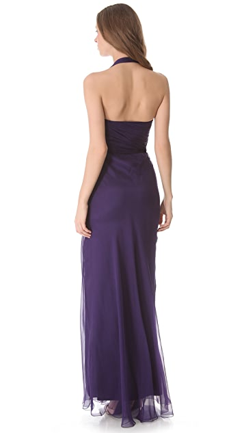Alberta Ferretti Collection Chiffon Wraparound Cutout Gown