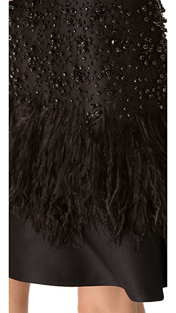 Alberta Ferretti Collection Sleeveless Dress with Feather