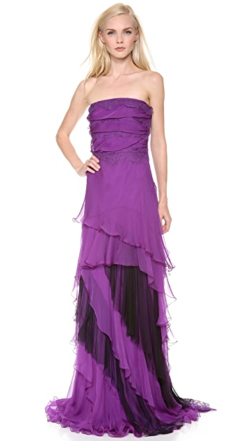 Alberta Ferretti Collection Strapless Chiffon Gown