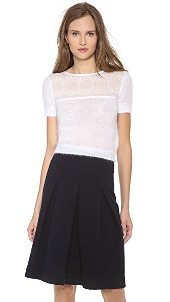 Alberta Ferretti Collection Sweater with Lace Trim
