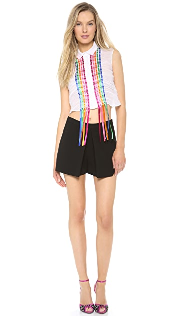 Alberta Ferretti Collection Ribbon Fringe Muslin Blouse