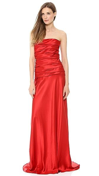 Alberta Ferretti Collection Strapless Satin Gown