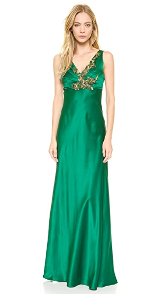 Alberta Ferretti Collection Sleeveless Satin Gown