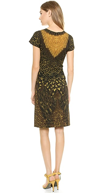 Alberta Ferretti Collection Feather Print Sheath Dress