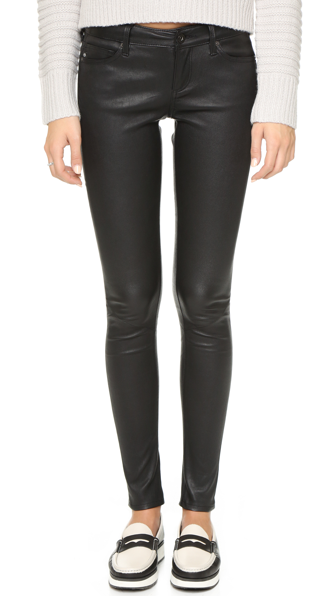 AG Skinny Leather Pants - Super Black