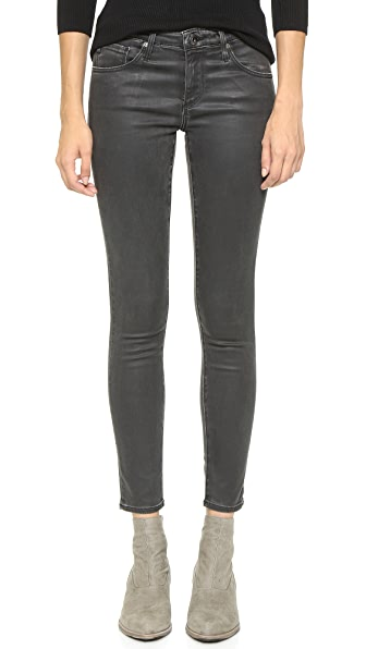 AG The Super Skinny Legging Ankle Jeans - Vintage Leatherette Lt Black
