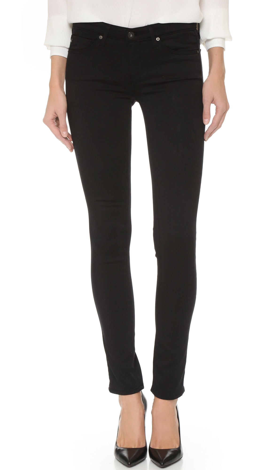 AG The Stilt Cigarette Jeans - Black