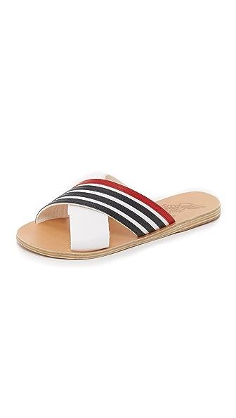 Ancient Greek Sandals Thais Crisscross Striped Sandals - Nautical Stripe