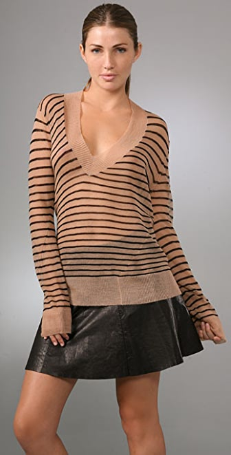 A.L.C. Stripe V Neck Sweater