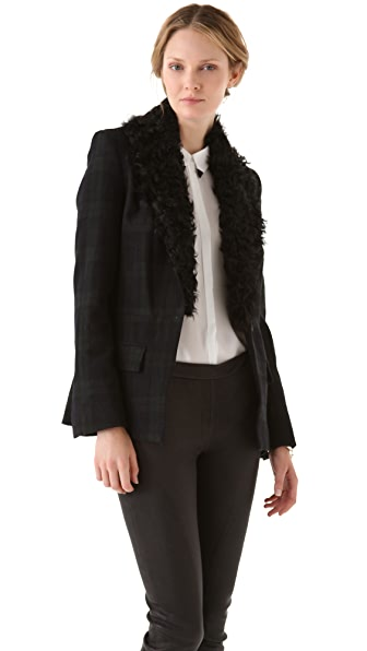 A.L.C. Plaid Hall Blazer with Fur Collar
