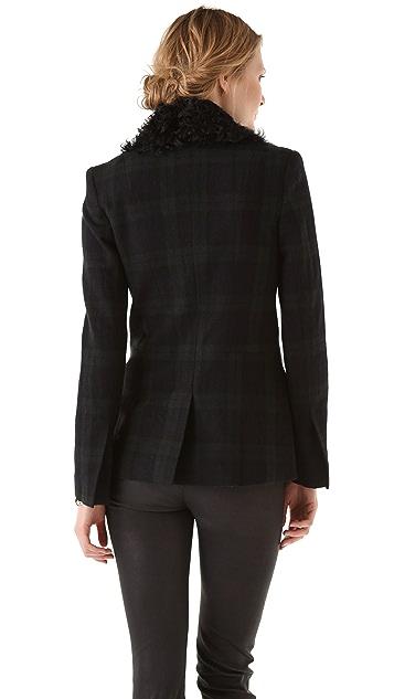 A.L.C. Plaid Hall Blazer with Fur Collar