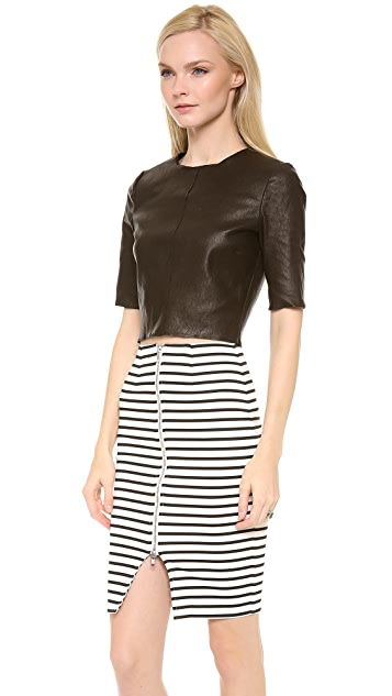 A.L.C. Cannon Cropped Leather Top