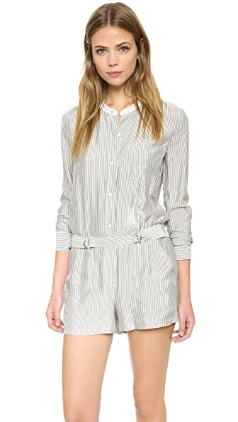 A.L.C. Mackay Striped Romper - Eggshell/Black