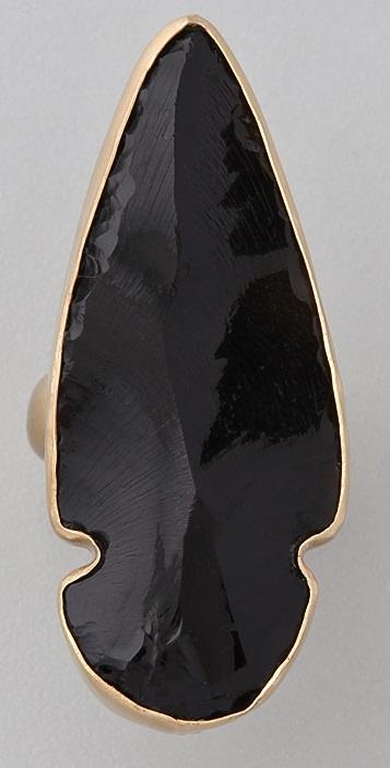 Charles Albert Obsidian Arrowhead Ring