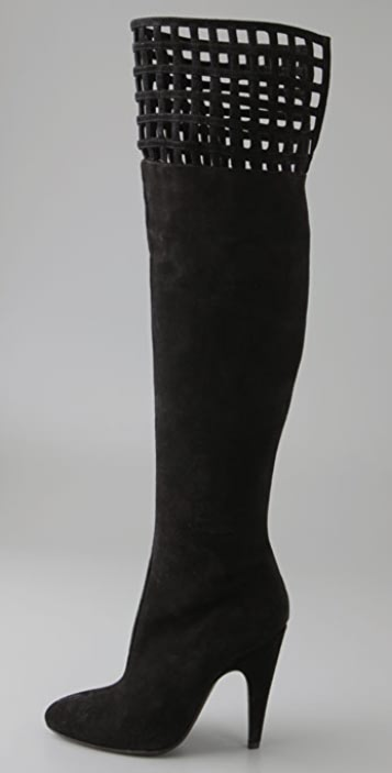 Alexandra Neel Spaghetti Suede Over the Knee Boots