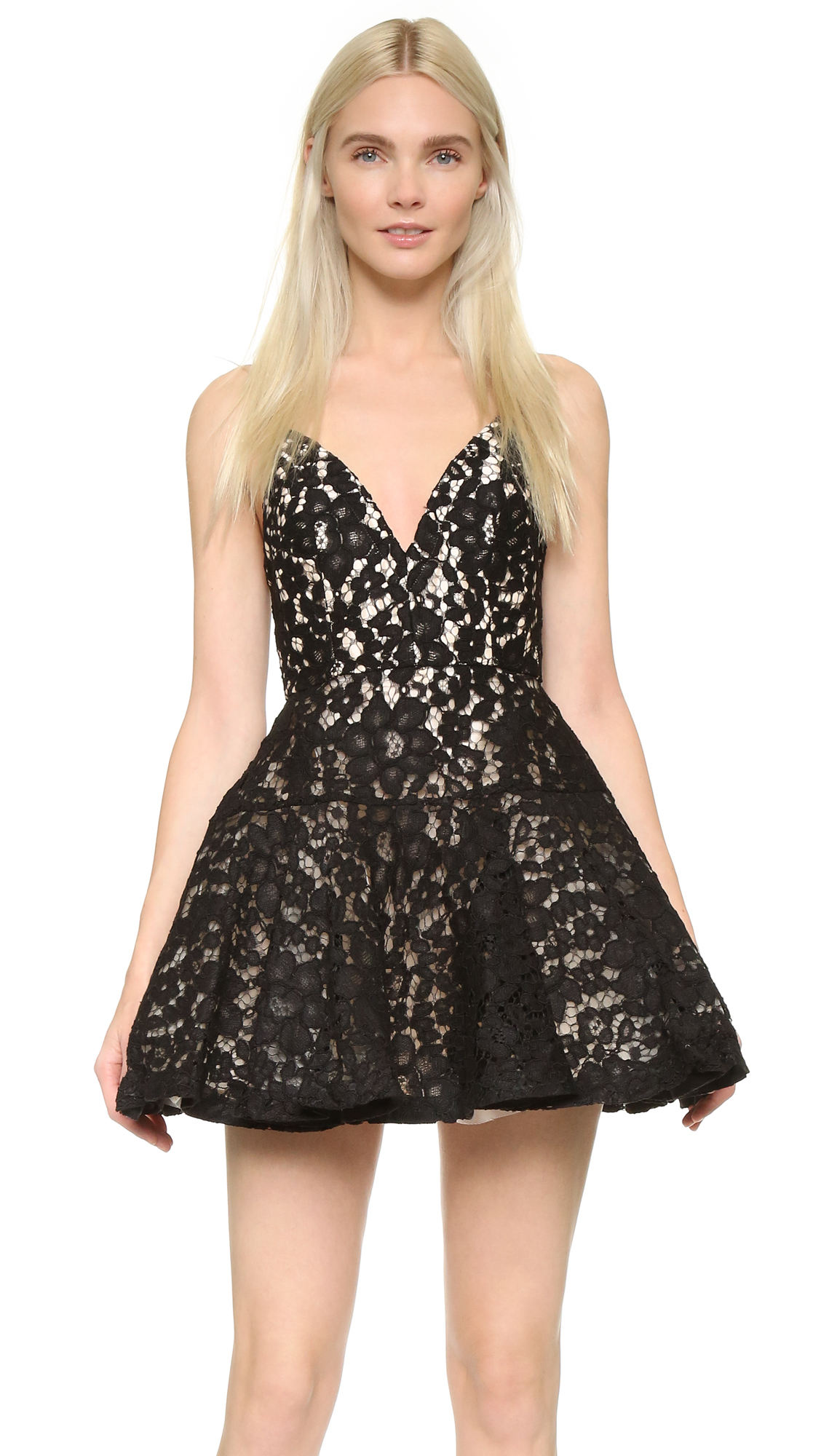 Description NOTE: Sizes listed are Australian. Please see Size & Fit tab. A shoulder baring Alex Perry mini dress in romantic lace. The fitted bodice gives way to a structured, mesh lined skirt. V neckline and spaghetti