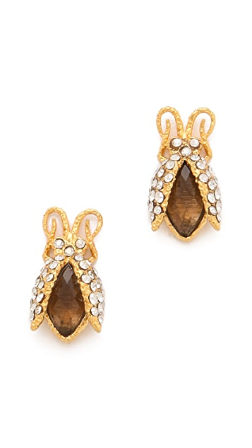 Alexis Bittar Floral Tiny Beetle Earrings