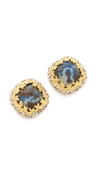 Alexis Bittar Mauritius Chrysocolla Cushion Post Earrings