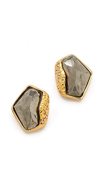 Alexis Bittar Liquid Pyrite Molten Stud Earrings