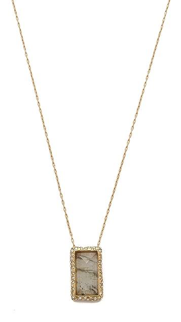 Alexis Bittar Framed Labradorite Baguette Pendant Necklace