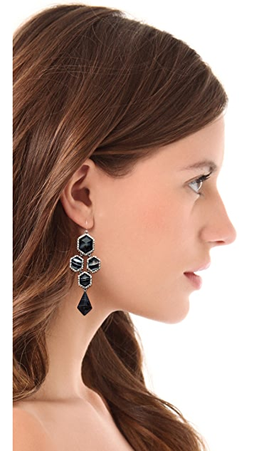 Alexis Bittar Pave Chandelier Black Agate Earrings