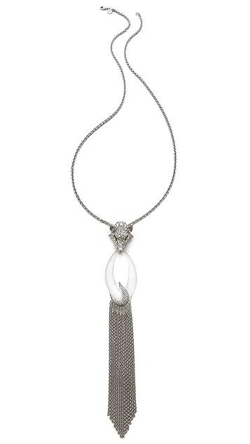 Alexis Bittar Pave Wolf Head Fringe Pendant Necklace