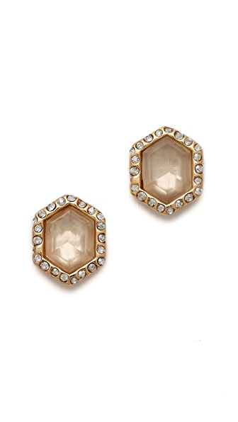 Alexis Bittar Pave Citrine Hexagon Stud Earrings