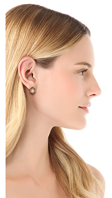 Alexis Bittar Pave Citrine Hexagon Stud Earrings