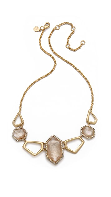 Alexis Bittar Linked Citrine Hexagon Necklace