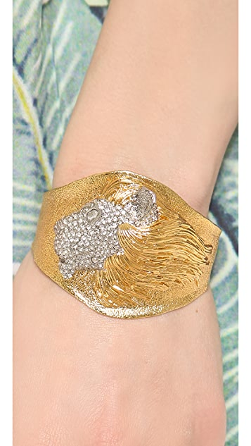 Alexis Bittar Crystal Encrusted Lion Cuff Bracelet