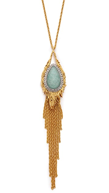 Alexis Bittar Feathered Tassel Pendant Necklace