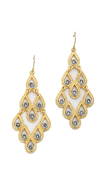 Alexis Bittar Crystal Studded Articulating Scalloped Tear Earrings