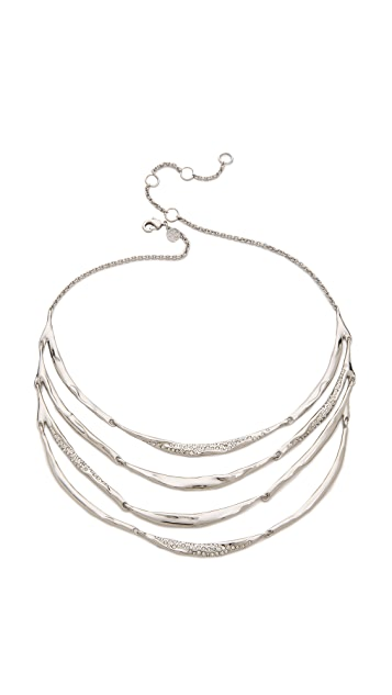 Alexis Bittar Crystal Encrusted Four Tiered Bib Necklace
