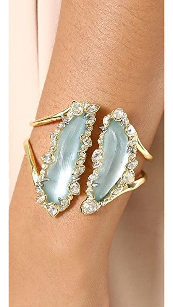 Alexis Bittar Liquid Metal Hinge Bracelet with Crystals