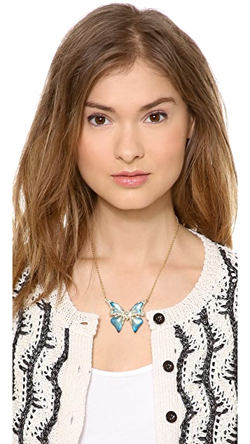 Alexis Bittar Hand Stenciled Butterfly Pendant Necklace