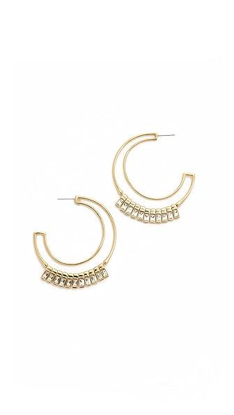 Alexis Bittar Baguette Fringed Hoop Earrings