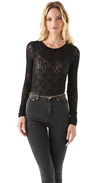 AIR by alice + olivia Lace Long Sleeve Top