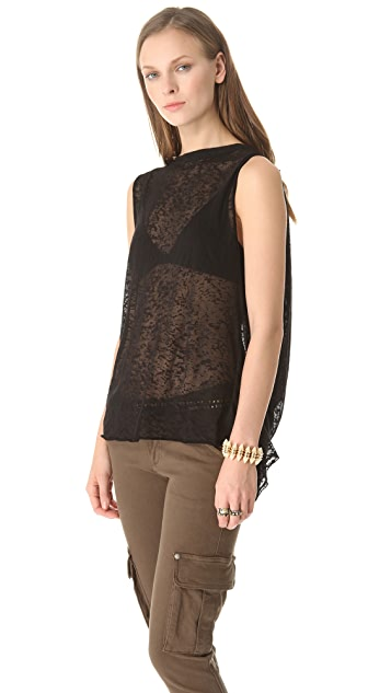 AIR by alice + olivia Burnout Tee with Draped Back