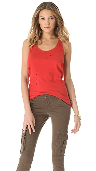 AIR by alice + olivia Distressed Long Tank