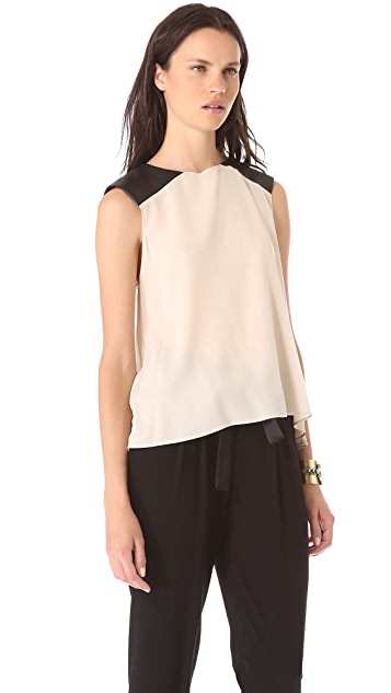 AIR by alice + olivia Leather Shoulder Muscle Tee