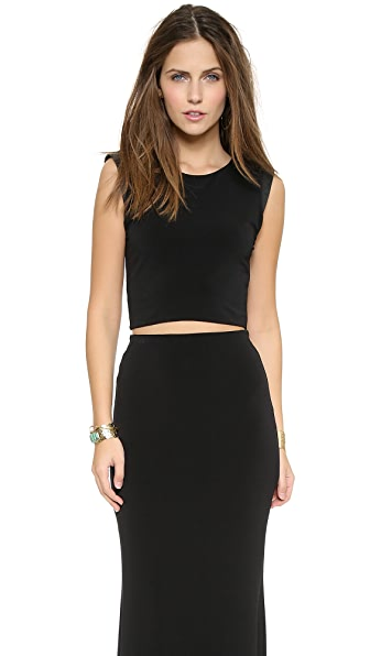 AIR by alice + olivia Leather Shoulder Crop Top