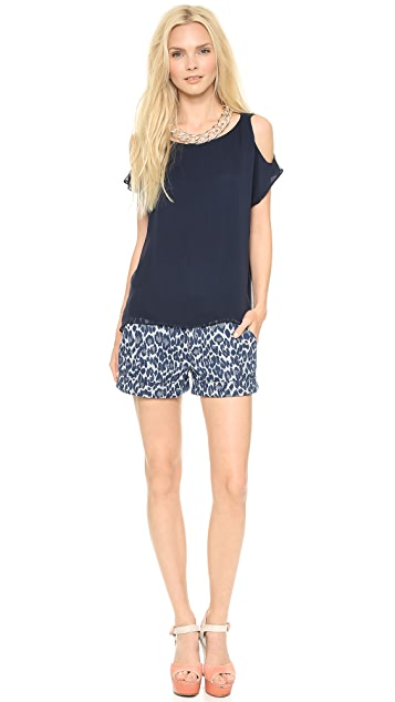 AIR by alice + olivia Knot Shoulder Washed Top