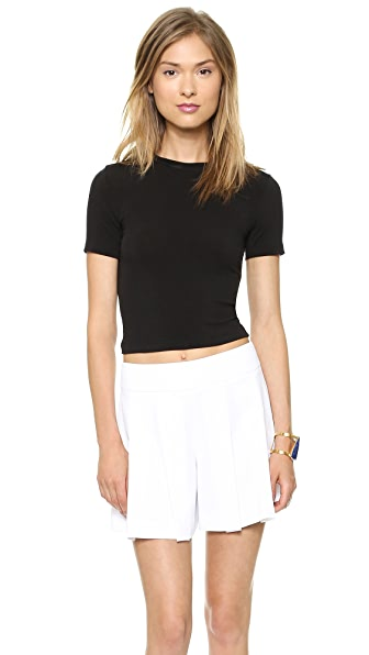 AIR by alice + olivia Short Sleeve Crew Neck Crop Top