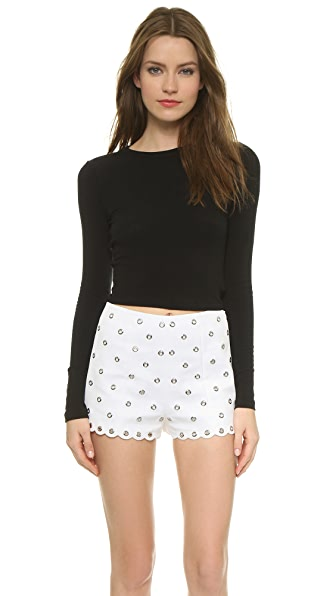 AIR by alice + olivia Long Sleeve Crew Crop Top